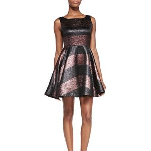 Alice + Olivia Foss Metallic Striped Party Dress 4